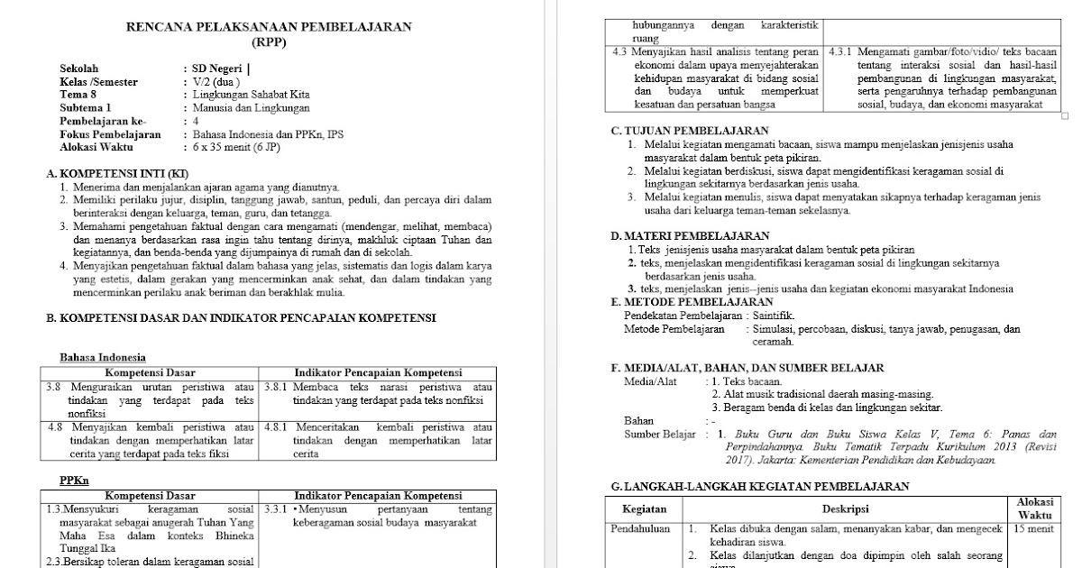 Download Rpp Untuk Sd Kelas 5 Kurikulum 2013 Tema 8 Lingkungan Sahabat Kita