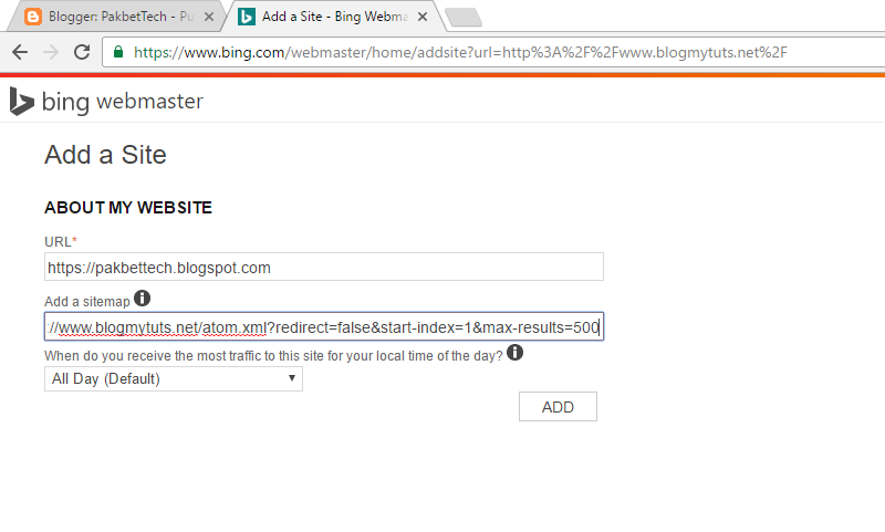 my first sitemap to bing or msn search engines phnewsbox