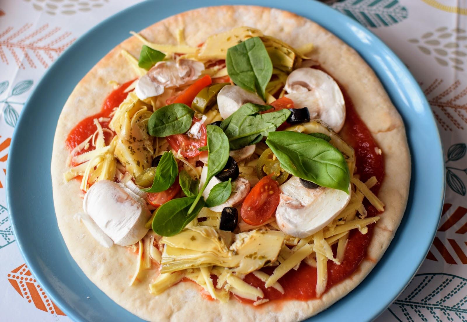 , Food:  Artichoke and Mushroom Vegan Pizza