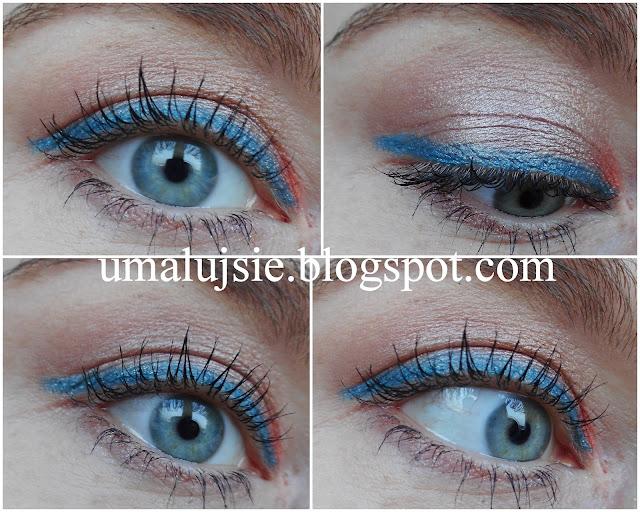 Szybki, świetlisty naturalny makijaż z błękitną kreską
