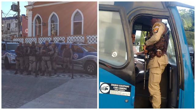 Policiamento nas ruas do Rio Vermelho