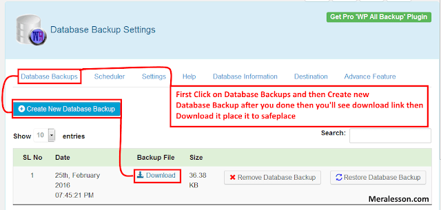 Make Backup Of Your database