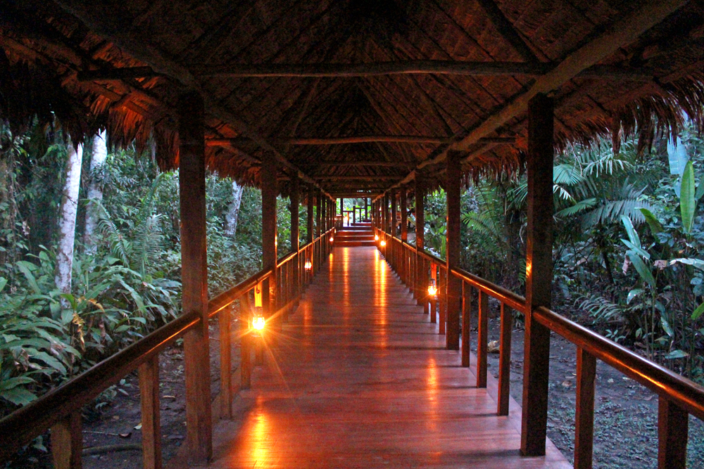 Inkaterra Reserva Amazonica Lodge at dusk, Peru - travel & lifestyle blog