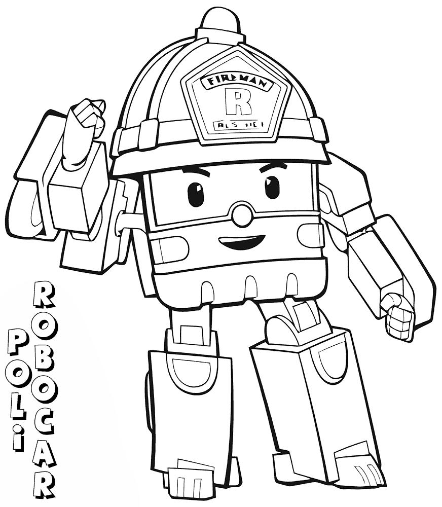 Sketsa Gambar Mewarnai Hitam Putih Tobot Robocar Poli Terbaru