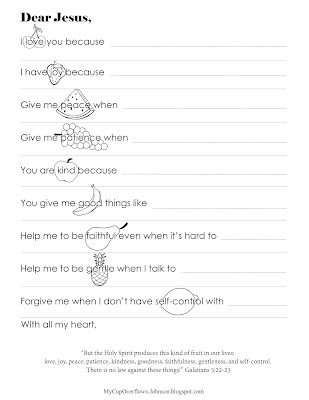 Fruit of the Spirit prayer coloring page for kids