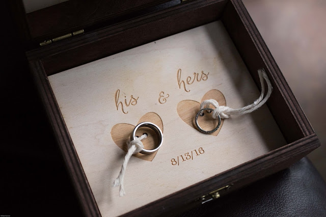 wedding rings in custom wooden box