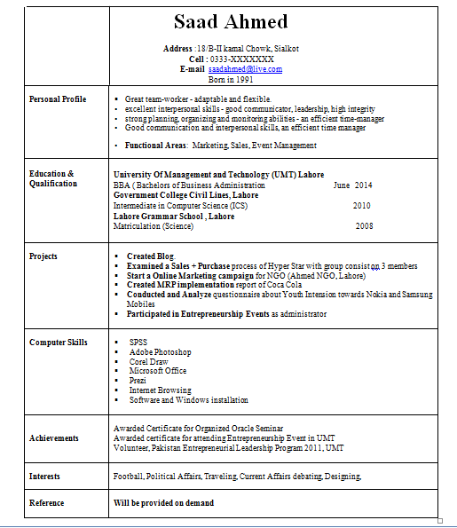 sample resume graduate