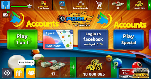 Gifts 8 ball pool Accounts 10 million coins 8 ball pool