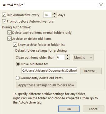 Opsi AutoArchive yang Anda ingin gunakan