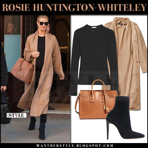 Rosie Huntington-Whiteley in camel babaton cardigan, black paige jeans with brown ysl bag what she wore april 2017 maternity style