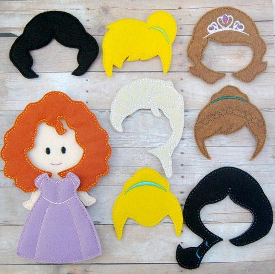felt dress up doll template - molde cabelo das princesas da disney como fazer
