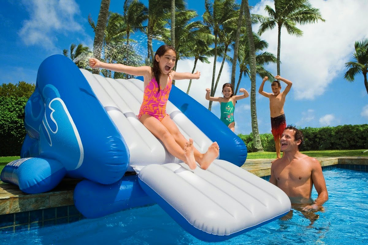 intex kool inflatable above ground pool slides - Inflatable Pool Slide