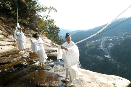 Otaki-Shimenawa-Harikae-Shiki (Change rope of waterfall), at Kumano Nachi Shrine, Wakayama