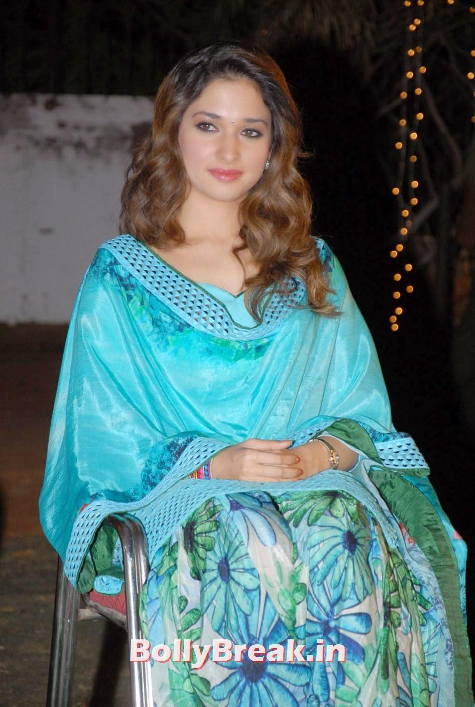 , Tamanna Bhatia hot Pics in Blue Patiala Salwaar Kameez