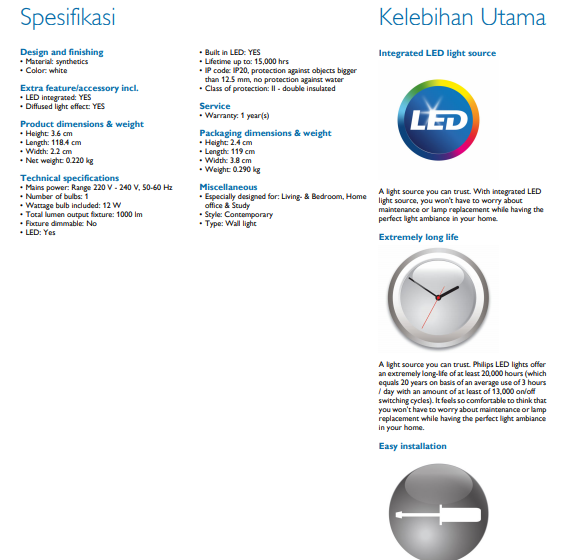 31094 TrunkLinea 13W 4000K Wall Lamp LED