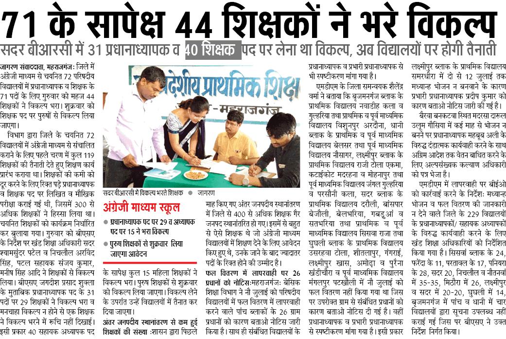 71 के सापेक्ष 44 शिक्षकों ने भरे विकल्प