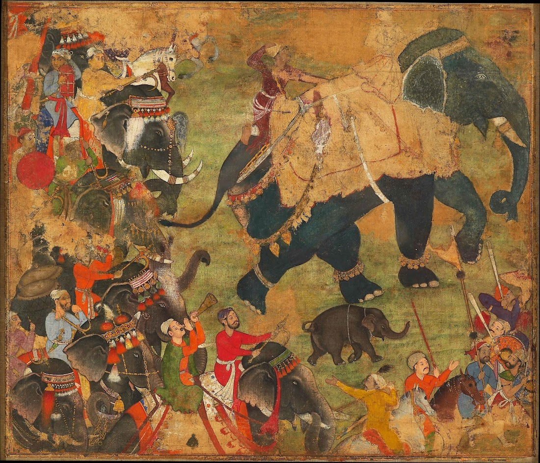 A Mughal Prince (Probably Akbar) Riding an Elephant in Procession - c1570
