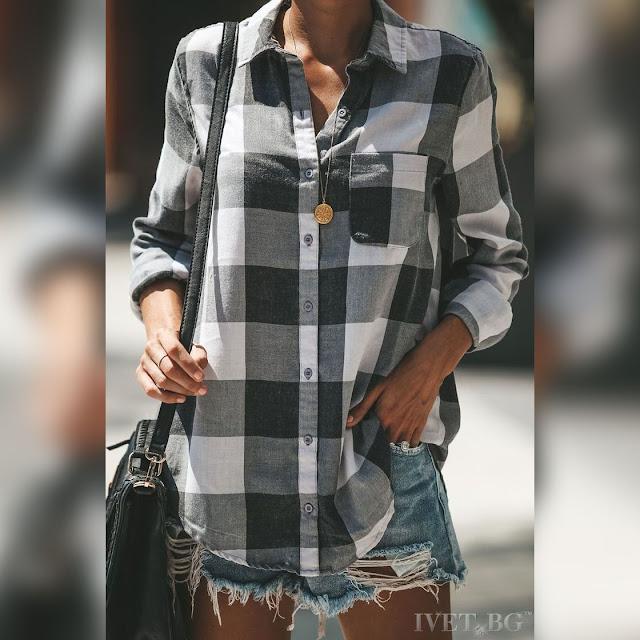 Γυναικείο μαύρο με άσπρο πουκάμισο SERENITA