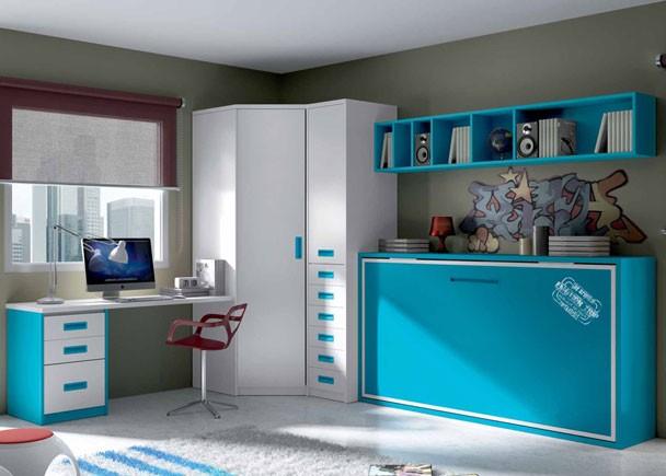 Dormitorio juvenil compuesto por cama abatible modulo de - Habitaciones juveniles con cama abatible ...