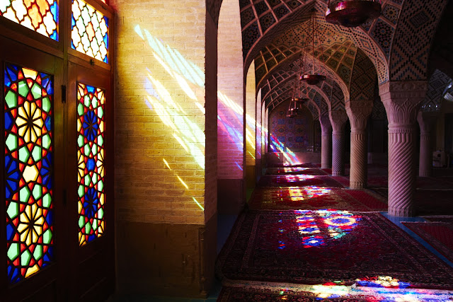 Stained glasses of Nasir ol molk mosque in Shiraz.