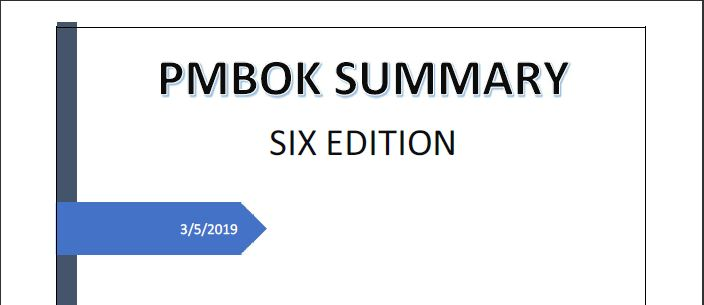 Download a Summary for PMBOK Guide Sixth Edition 2019