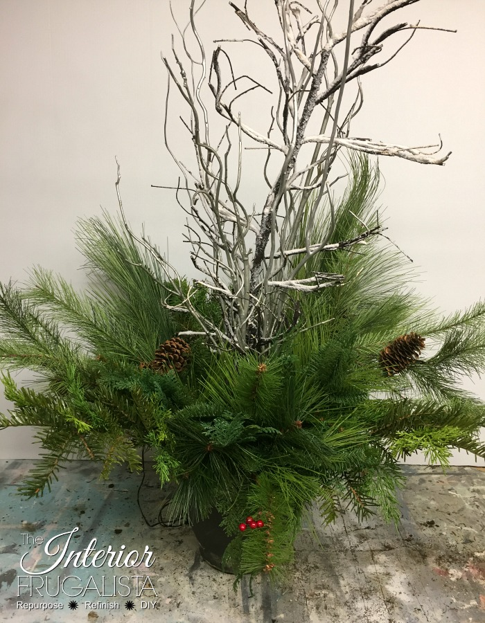 Outdoor Christmas Planters with artificial mixed greens