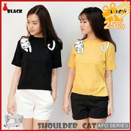 AFO378 Model Fashion Oneck Shoulder Cat Modis Murah BMGShop