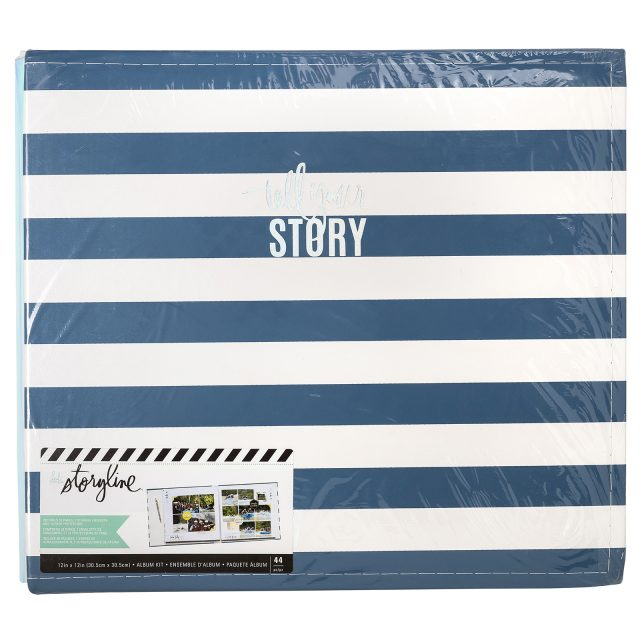 Heidi Swapp Storyline Tell Your Story Blue Striped 12x12 album