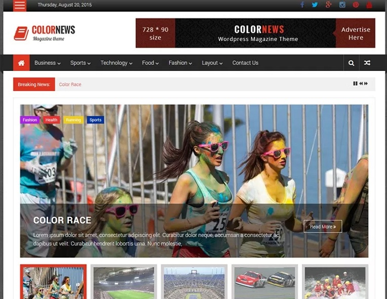ColorNews Responsive Newspaper WordPress Theme Free Download