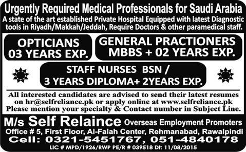 Doctors Jobs in Saudi Arabia for Opticians and General Practioners