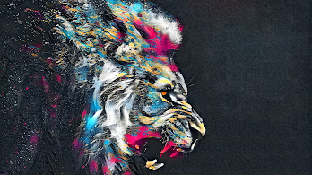 Lion, Roar, Animal, Abstract, Colorful, 4K, #49