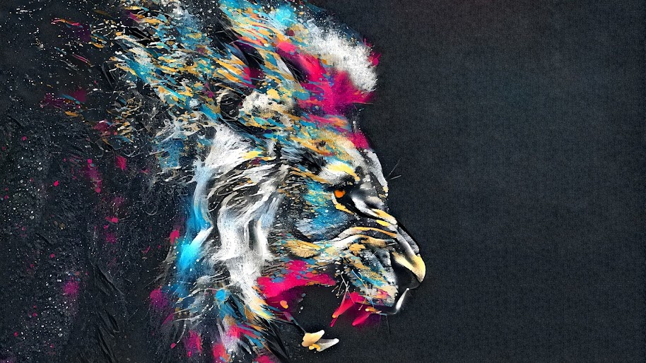 Lion Roar Animal Abstract Colorful 4k Wallpaper 49