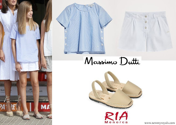 Princess Leonor wore Massimo Dutti cotton short sleeve shirt and loose fitting shorts-and RIA Menorca Pau Beige sandals