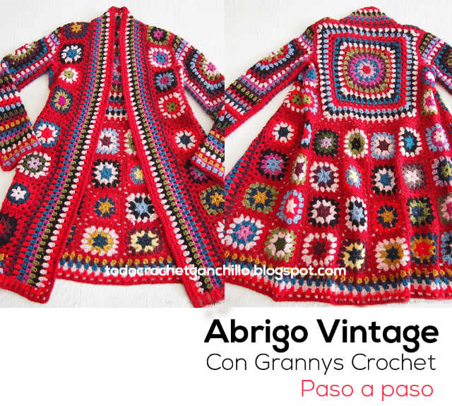 Abrigo vintage con cuadros grannys al crochet paso a paso