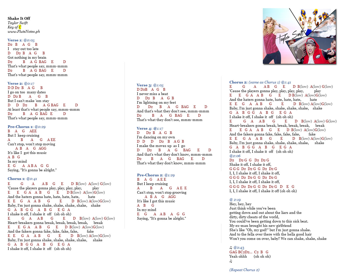 Shake It Off Taylor Swift Music Letter Notation With Lyrics For