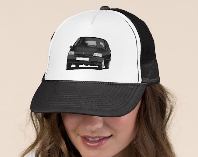 Zazzle Renault Clio illustration on a trucker hat