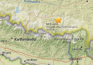 Earthquake epicenter map of China, Nepal