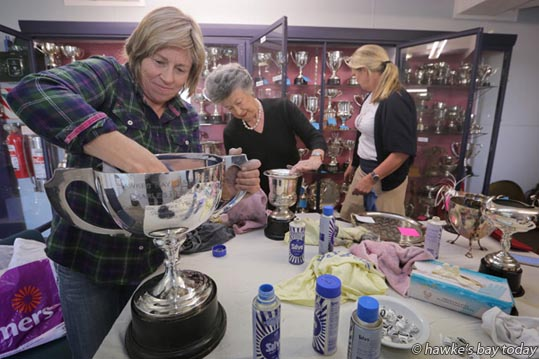 L-R: Juliet Hansen, Ocean Beach, Sandie Chambers, Havelock North, Annie Turley, Havelock North - Volunteers were hard out polishing cups and salvers in preparation for this year's Hawke's Bay A&P Show at the Hawke's Bay Showgrounds in Hastings. photograph