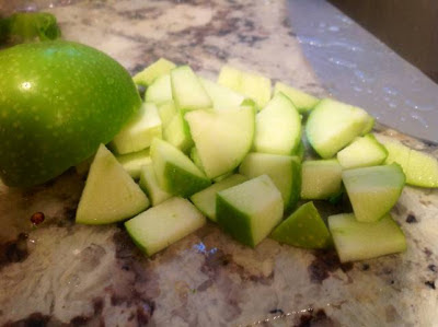 green apple diced on counter