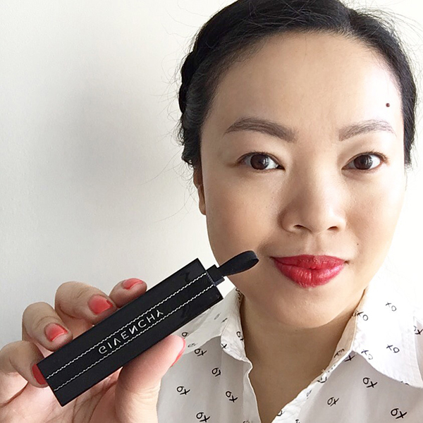 Vancouver beauty, life and style blogger Solo Lisa wears Givenchy Rouge Interdit in 13 Rouge Interdit, a classic red