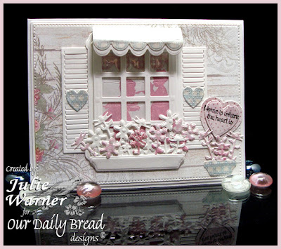 Our Daily Bread Designs Stamp sets: Home Sweet Home, Little Girls, ODBD Custom Dies: Welcoming Window, Window Shutter and Awning, Flower Box Fillers, Ornate Hearts, Our Daily Bread Designs Shabby Rose Paper Collection