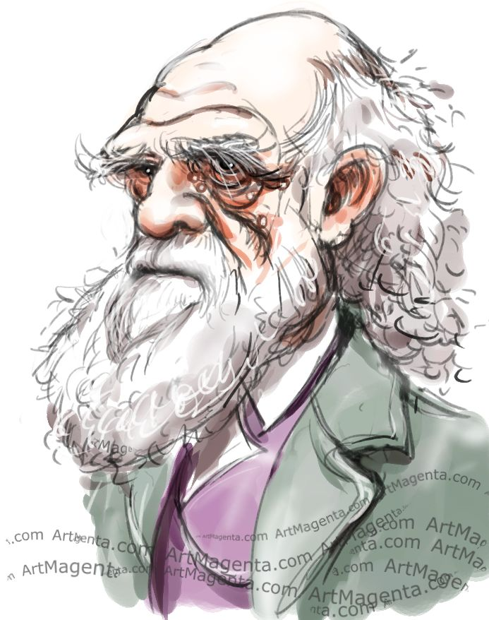 Charles Darwin caricature cartoon. Portrait drawing by caricaturist Artmagenta