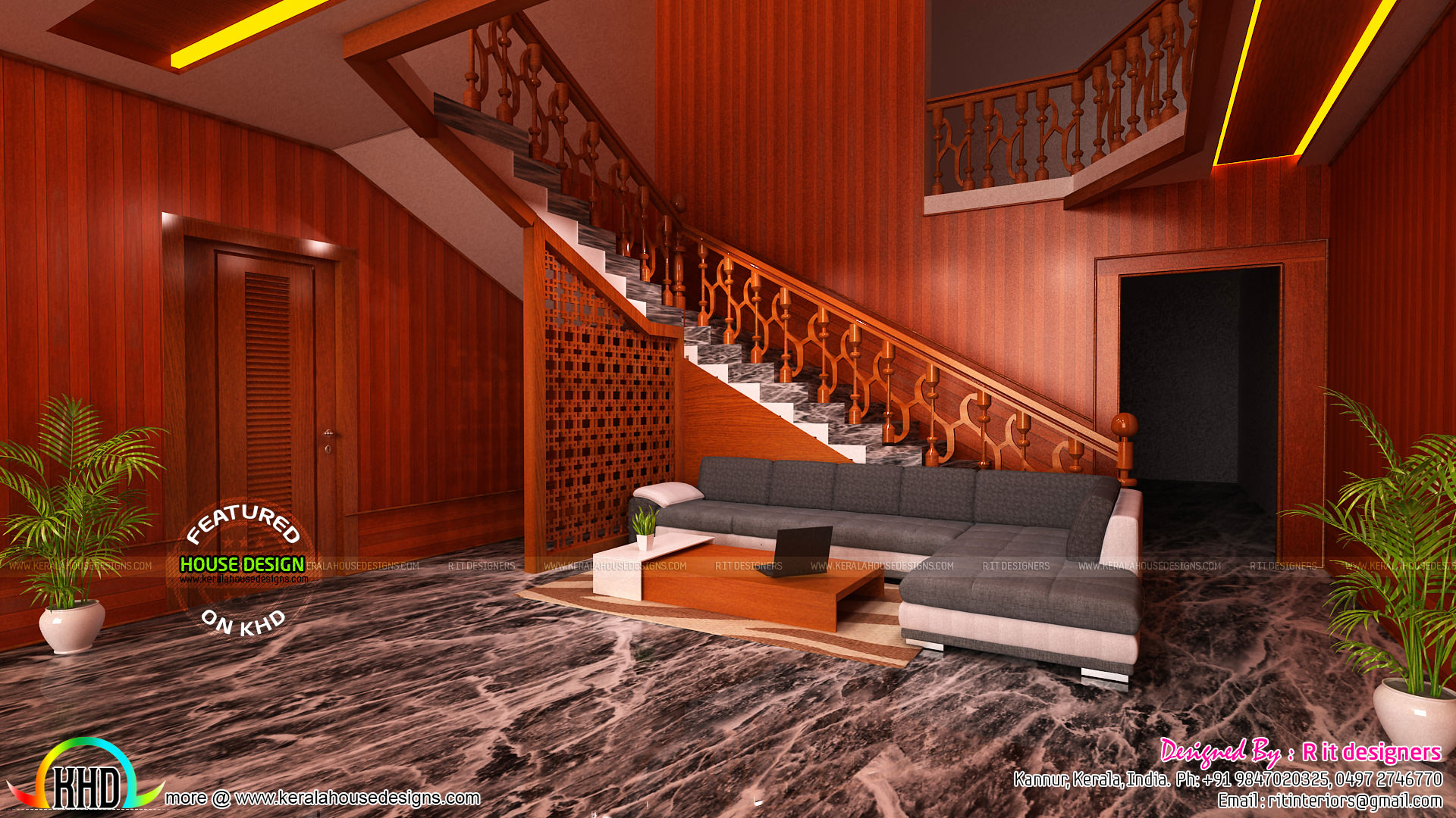 Foyer Plan Kerala : Bedroom kitchen living and foyer interiors kerala home