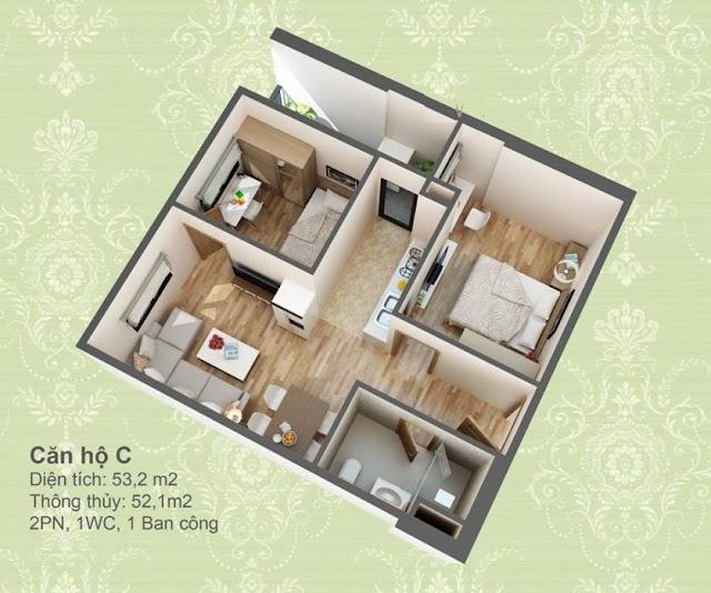Mặt bằng thiết kế 3D căn hộ loại C