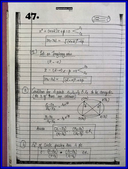 IITJEE Competition Notes On Complex Number 47