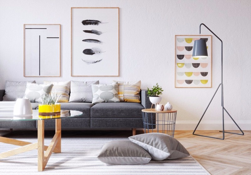 gray yellow and white living room decor