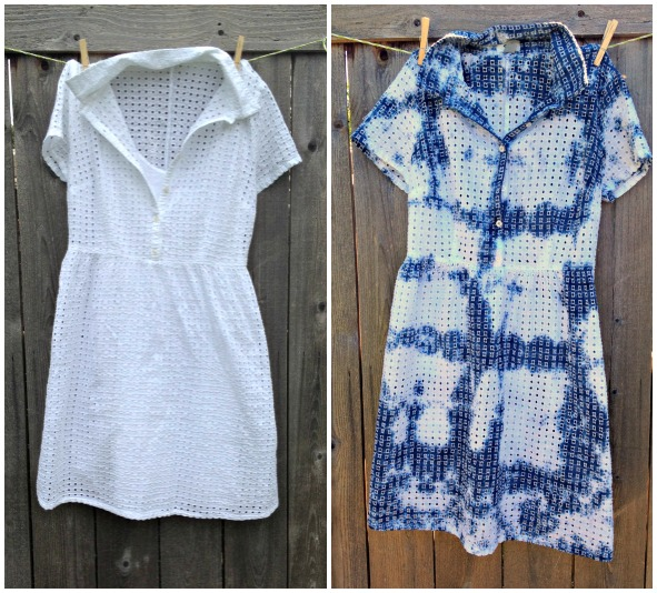 How to tie dye a dress -- before and after!