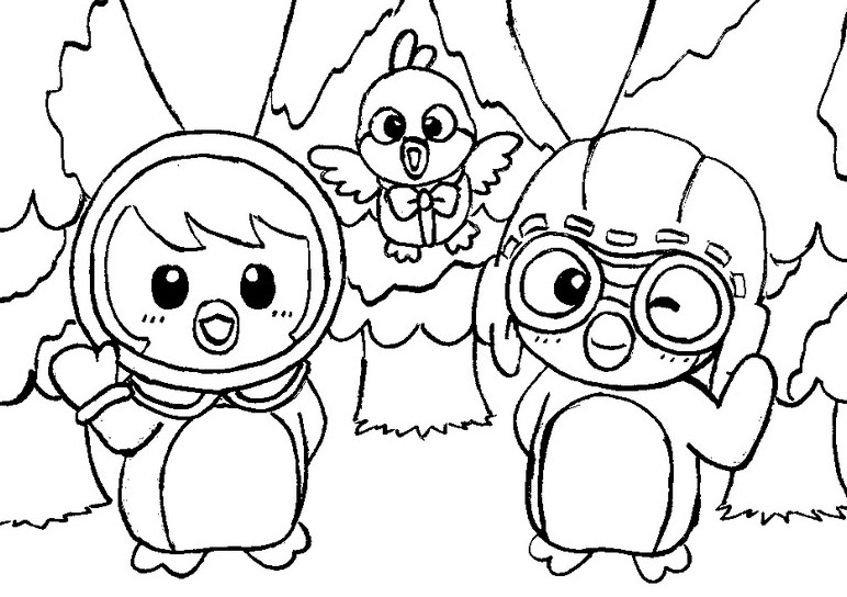 Buku belajar mewarnai gambar kartun pororo si penguin kecil
