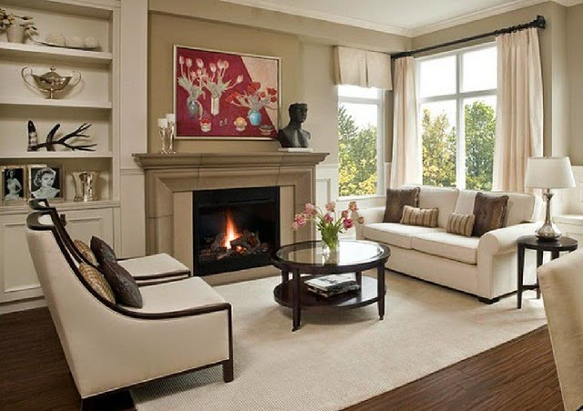 Living Room Arrangement with Fireplace