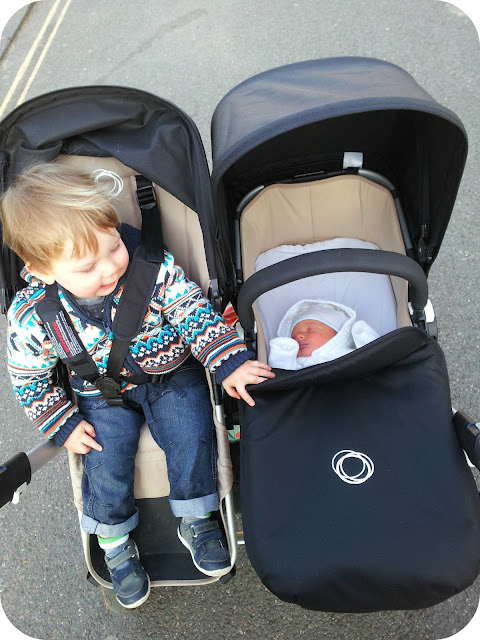 proud brother, bugaboo donkey, brothers in double pushchair